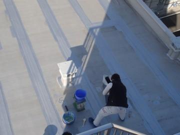 補修箇所のトップコート塗布